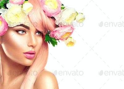 Blooming flowers wreath on woman's head. Flowers hairstyle