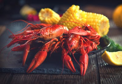 Crayfish. Creole style crawfish boil serving with corn and potat
