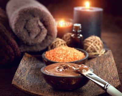 Spa treatment. Chocolate mask, bath salt, brown sugar scrub for