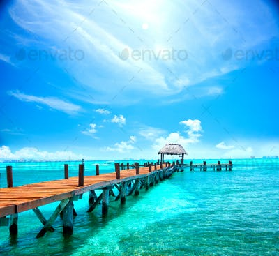 Exotic tropical resort. Jetty near Cancun, Mexico. Travel, Touri