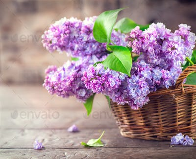 Lilac flowers bunch in a basket over blurred wood background