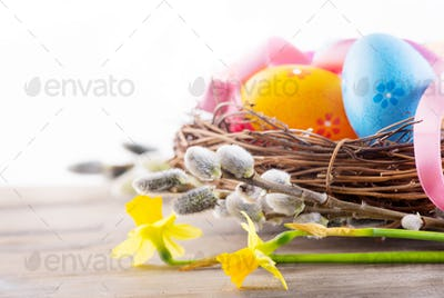 Easter background. Beautiful colorful eggs in the nest with spri