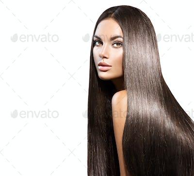 Beautiful long hair. Beauty woman with straight black hair isola