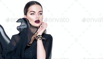 Beauty sexy girl wearing stylish chiffon dress. Fashion model wo