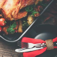 Thanksgiving. Holiday dinner. Served table with roasted turkey