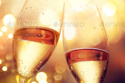 Christmas and New Year celebration with champagne. Two champagne