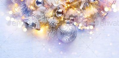 Christmas decoration over white wooden background. Border art de