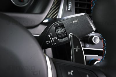 Wipers control switch in car interior