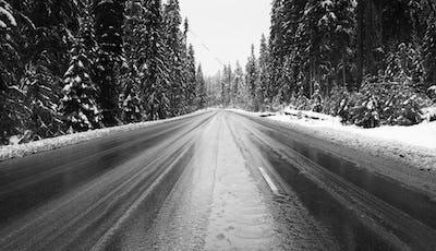 Mountain Pass Winter Road Cascade Range Oregon State