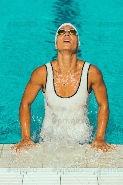 Female swimmer in the pool