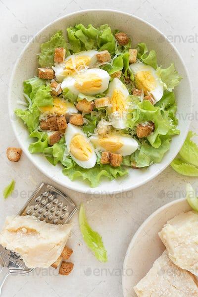 Caesar salad with eggs