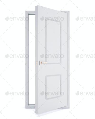 Open door over white background. 3d rendering.