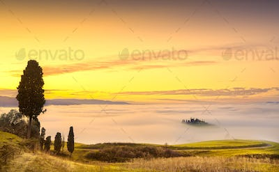 Volterra fog and sea of clouds, rolling hills panorama on sunset