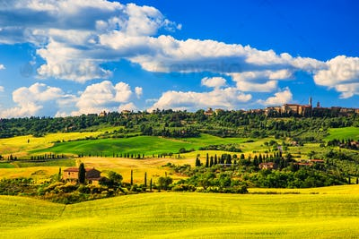 Tuscany spring, Pienza medieval village. Siena, Italy