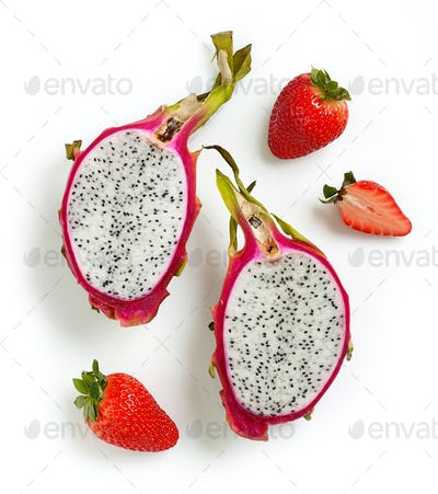 Dragon Fruit or Pitahaya and strawberries