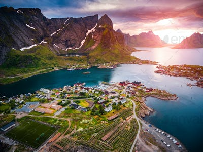 Lofoten archipelago islands aerial photography.