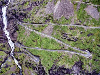 Troll's Path Trollstigen or Trollstigveien winding mountain road
