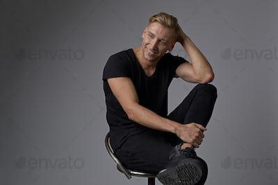 Portrait smiling handsome man