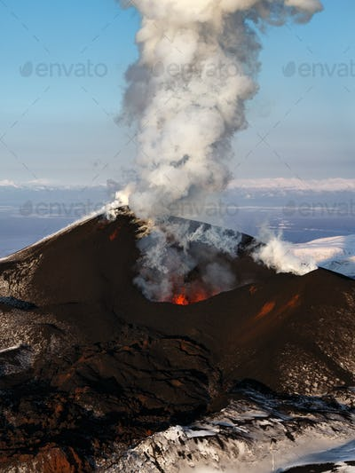 Aerial View of Stunning Scenery Eruption Volcano Landscape of Kamchatka Peninsula
