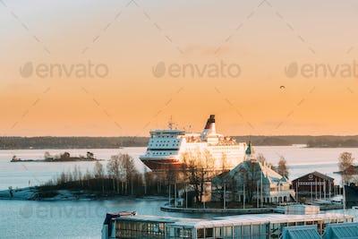 Helsinki, Finland. View Of Modern Ferry Ferryboat Sailing Near B