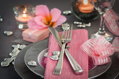 Valentines table setting in pink colour