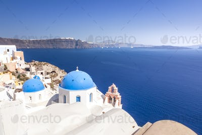 typical view at Oia Santorini Greece