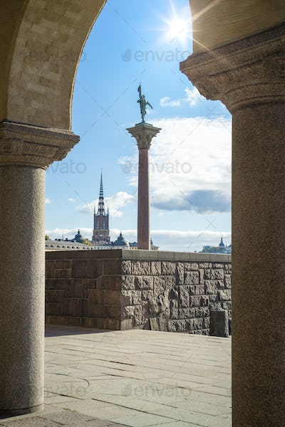 Riddarholmen from the city hall of Stockholm Sweden