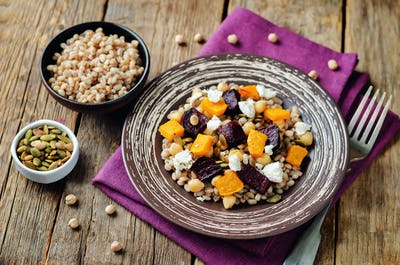 Roasted pumpkin and beet barley chickpeas pepita salad