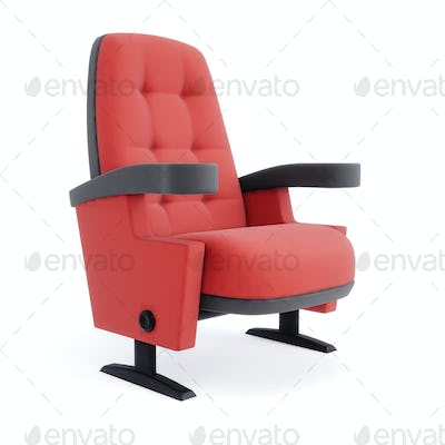 Cinema chair isolated on white background. Red armchair closeup. 3d illustration.