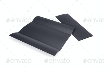 Blank black leaflet, Cover Mockup, booklet isolated on wgite background. 3d rendering