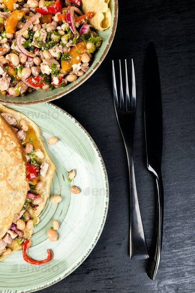 Buckwheat Pancake. Mexican Quesadilla.