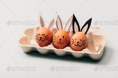 Three egg-bunnies standing in an egg carton.