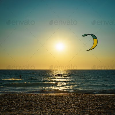 Kite surfing over the see in Lefkada, Greece