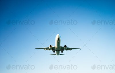 passenger plane taking off composition
