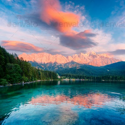 Fantastic sundown on mountain lake Eibsee