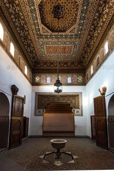 Interiors of Muslim Bahia Palace in Marrakesh,Morocco.