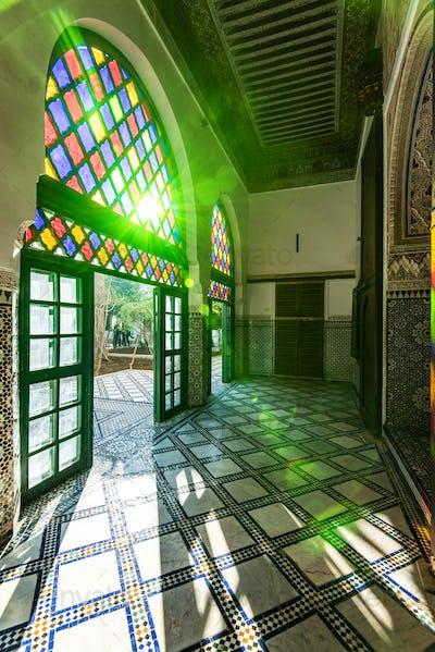 Sun light into Bahia Palace in Morocco