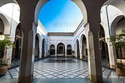 Courtyard with fountain, Bahia Palace,Morocco