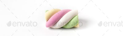 Colorful marshmallow on white background