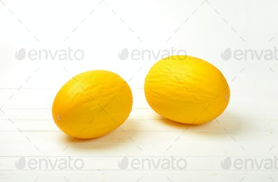 whole yellow melons