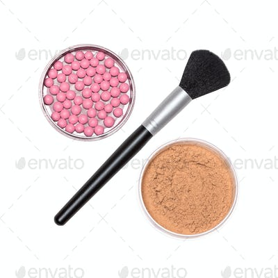 Percent sign of brush with blush and powder isolated on white