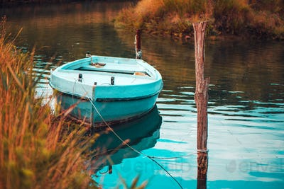 Lonely fishing boat