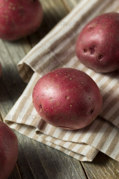 Raw Red Organic Potatoes