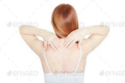 Young woman back with neck pain on white, clipping path