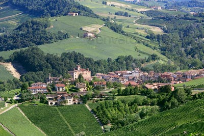 Barolo medieval town in Piedmont aerial view, northern Italy