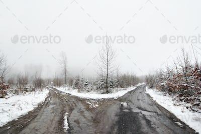 Bleak crossroad in the winter