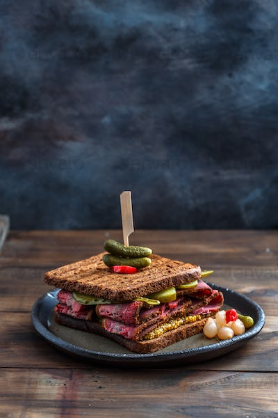 Beef pastrami sandwich with place for wording