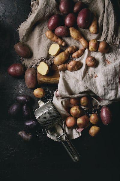 Variety of raw potatoes