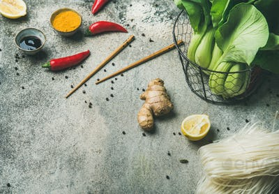 Vegetables, spices, noodles, sauces for cooking vietnamese, thai, chinese food