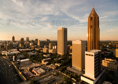 Over City Skyline Atlanta GA Downtown Dusk Georgia